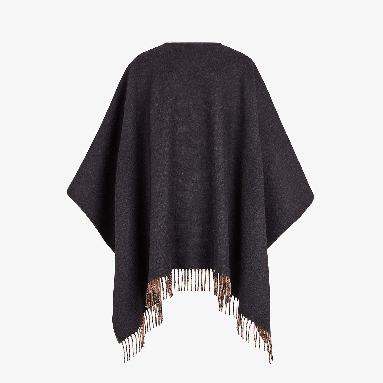 FENDI PONCHO - Black cashmere and wool poncho - view 2 detail