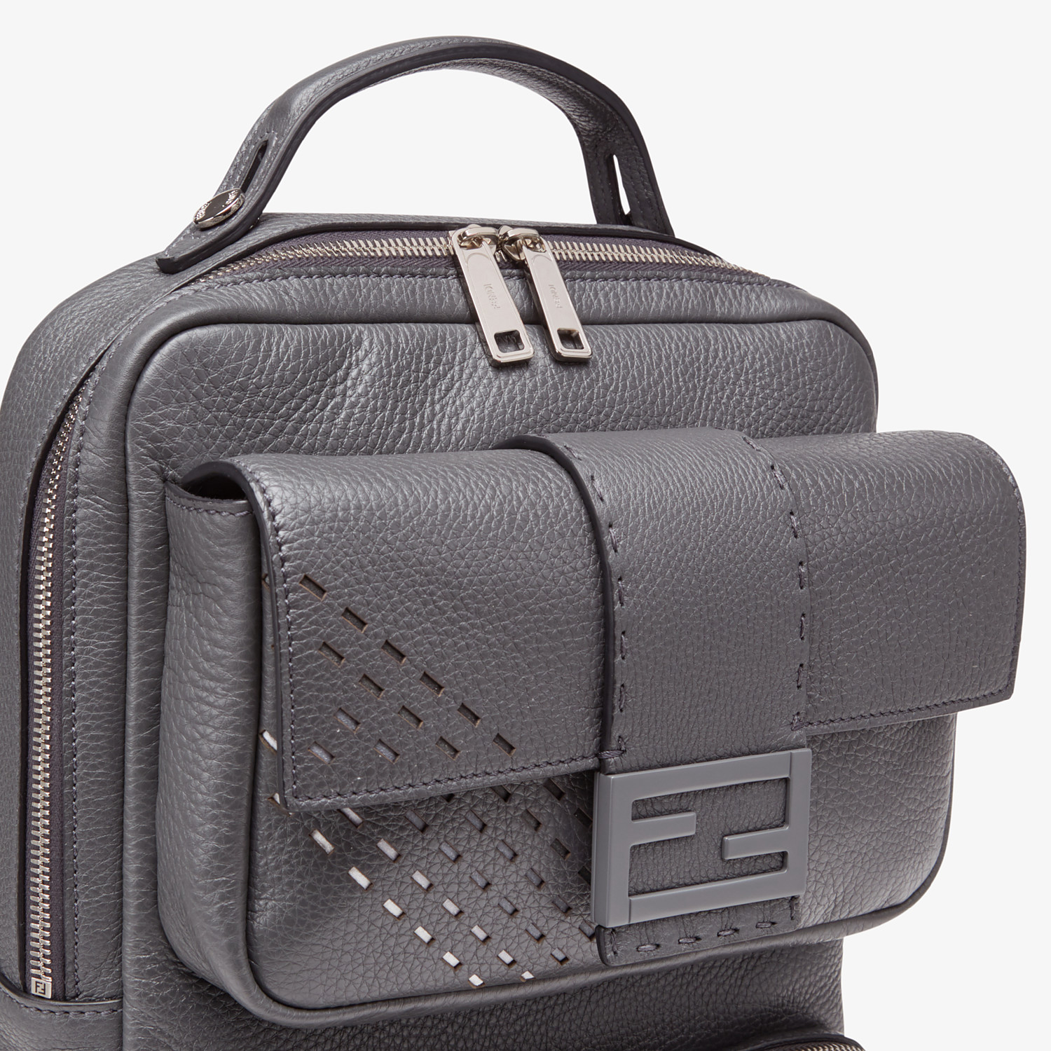 FENDI BACKPACK - Grey calf leather backpack - view 4 detail