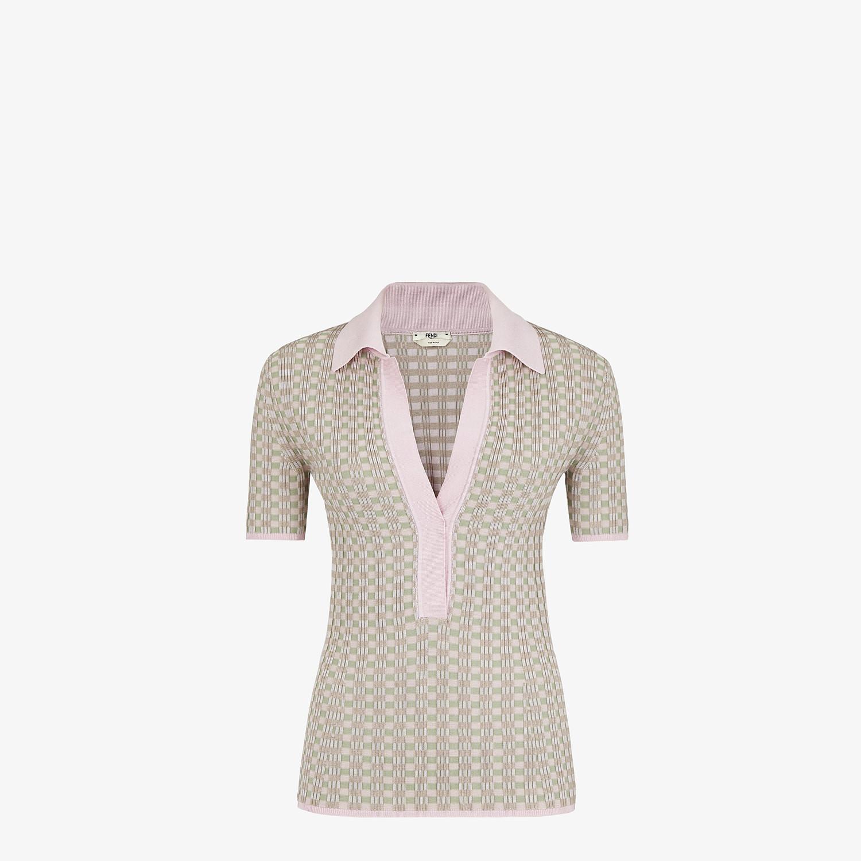 FENDI JUMPER - Vichy viscose polo shirt - view 1 detail