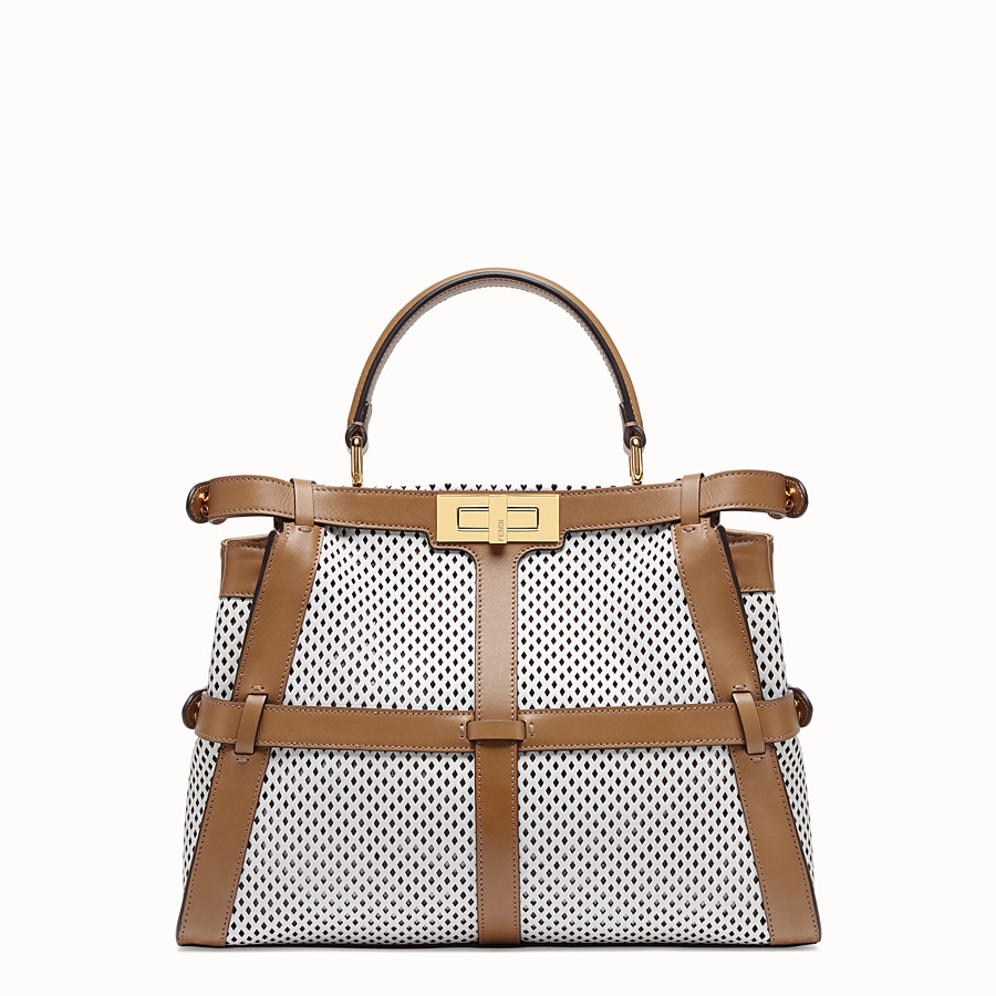 FENDI PEEKABOO ICONIC MEDIUM - Tasche aus Leder in Weiß - view 4 detail