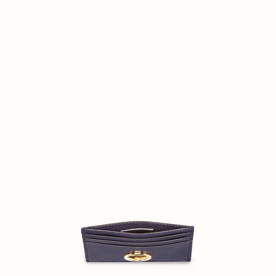 FENDI CARD HOLDER - Blue leather flat card holder - view 4 detail