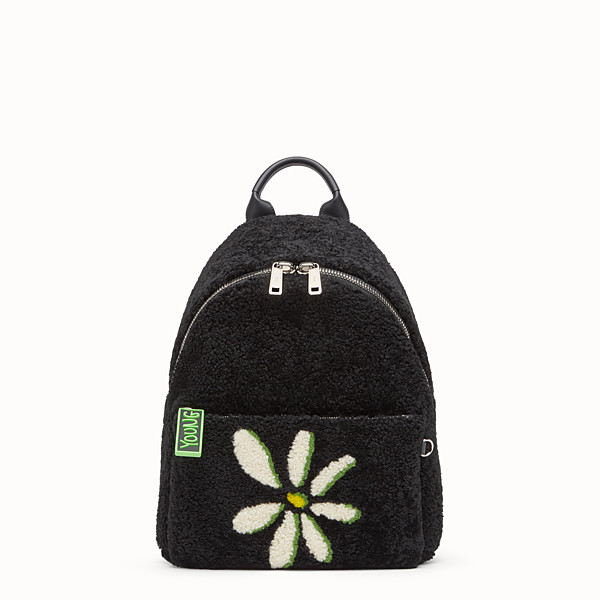 FENDI BACKPACK - Black shearling backpack - view 1 small thumbnail