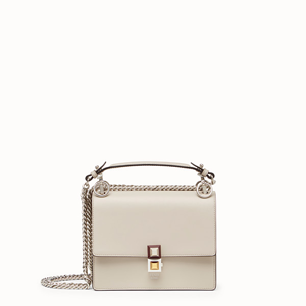 FENDI KAN I SMALL - Mini-bag in powder grey leather - view 1 small thumbnail