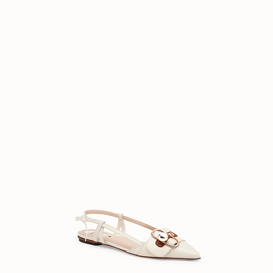 FENDI SLINGBACKS - White leather slingbacks - view 2 detail