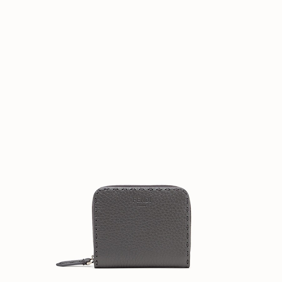FENDI MEDIUM ZIP-AROUND - Grey leather wallet - view 1 detail