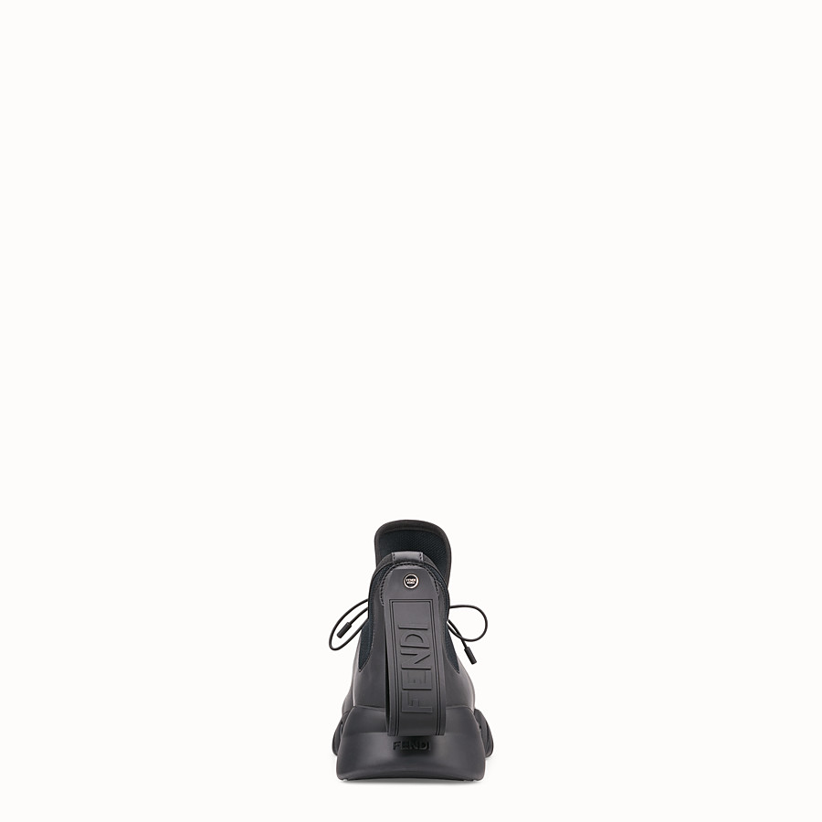 FENDI SNEAKERS - Black technical knit fabric high-tops - view 3 detail