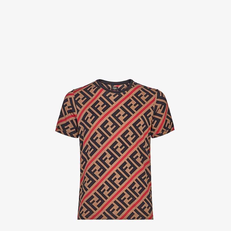 FENDI T-SHIRT - Beige cotton T-shirt - view 1 detail