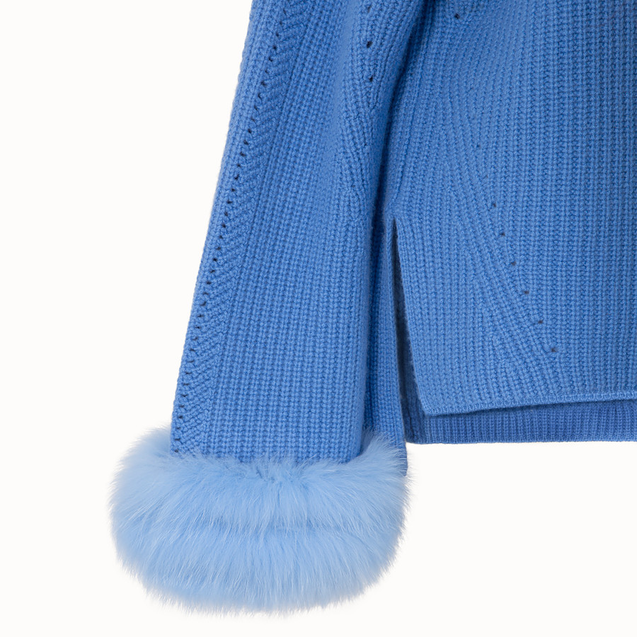 FENDI PULLOVER - Blue cashmere jumper - view 3 detail