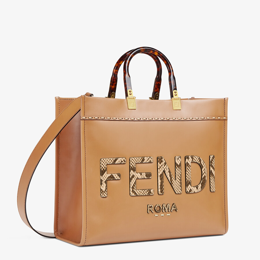 FENDI FENDI SUNSHINE MEDIUM - Light brown leather and elaphe shopper bag - view 2 detail