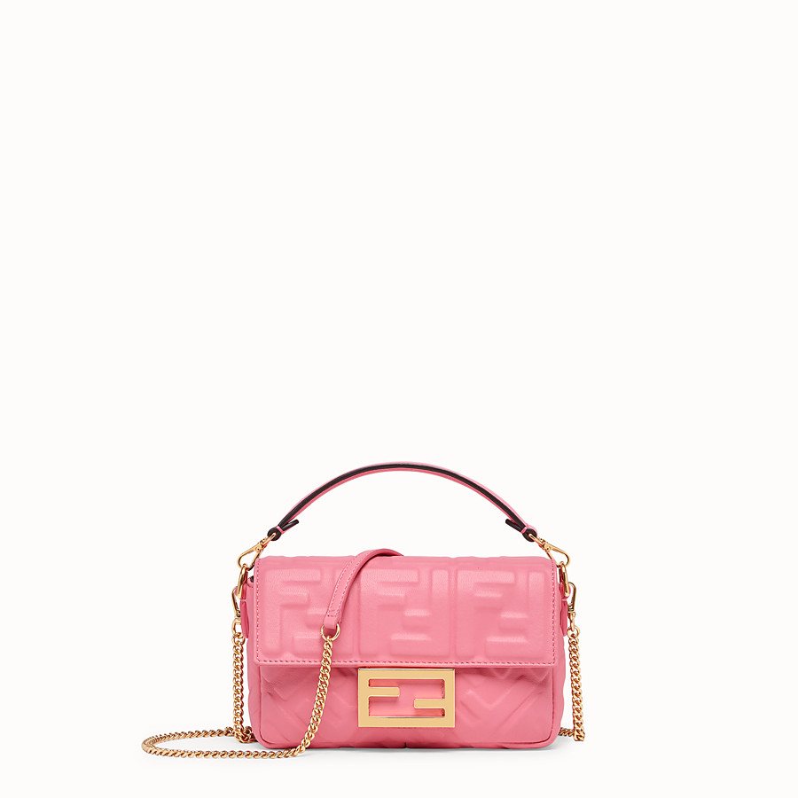 FENDI MINI BAGUETTE - Pink leather bag - view 1 detail