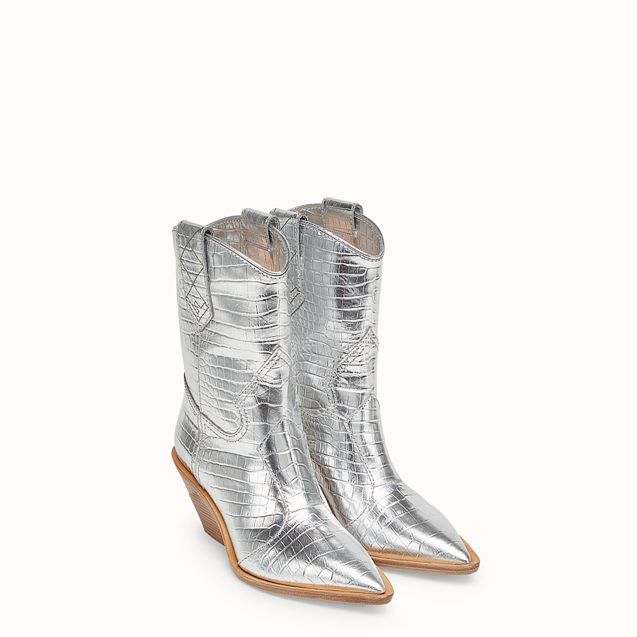 FENDI BOOTS - Silver leather ankle boots - view 4 detail