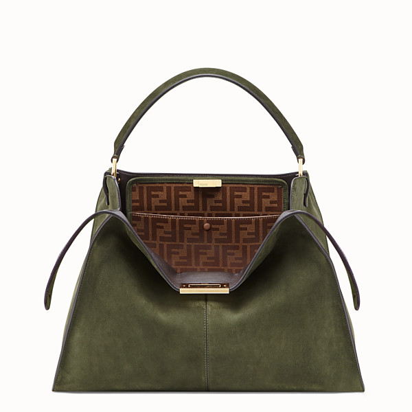 FENDI PEEKABOO X-LITE LARGE - Green suede bag - view 1 small thumbnail