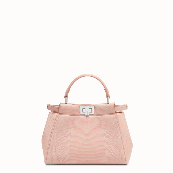 FENDI PEEKABOO ICONIC MINI - Pink lizard leather bag - view 1 small thumbnail