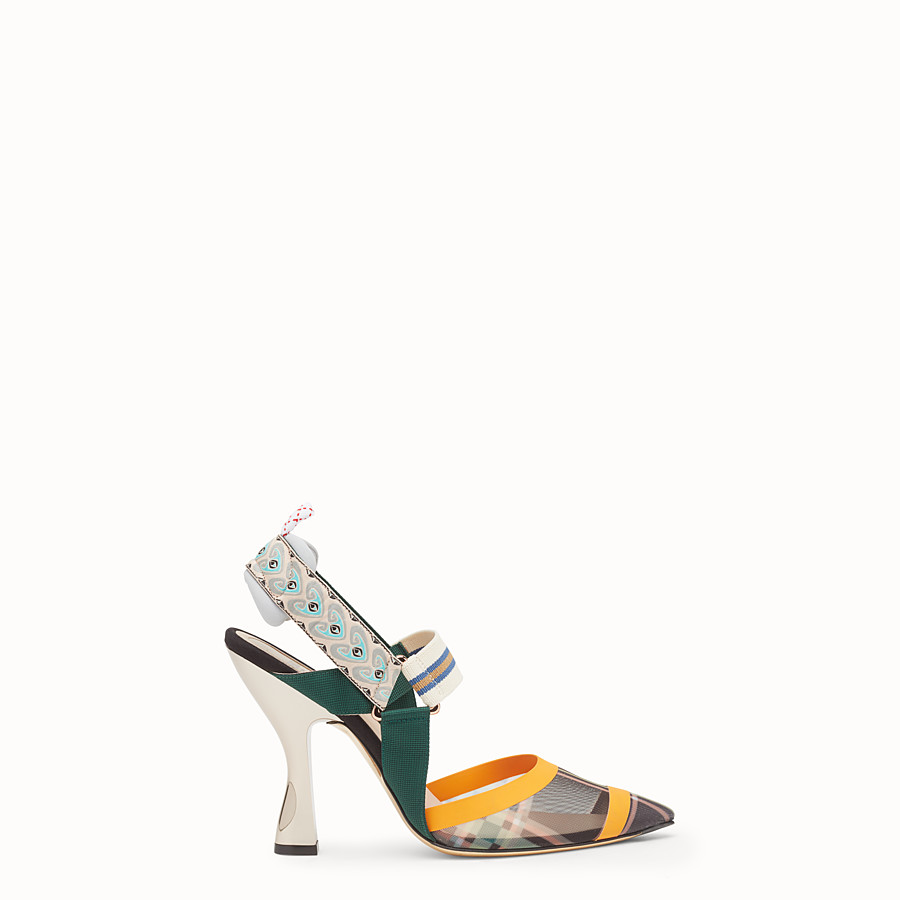 FENDI SLINGBACKS - Multicolour technical mesh slingbacks - view 1 detail