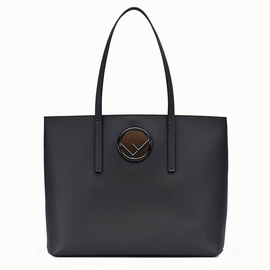 FENDI SHOPPING LOGO - Black leather shopper bag - view 1 detail