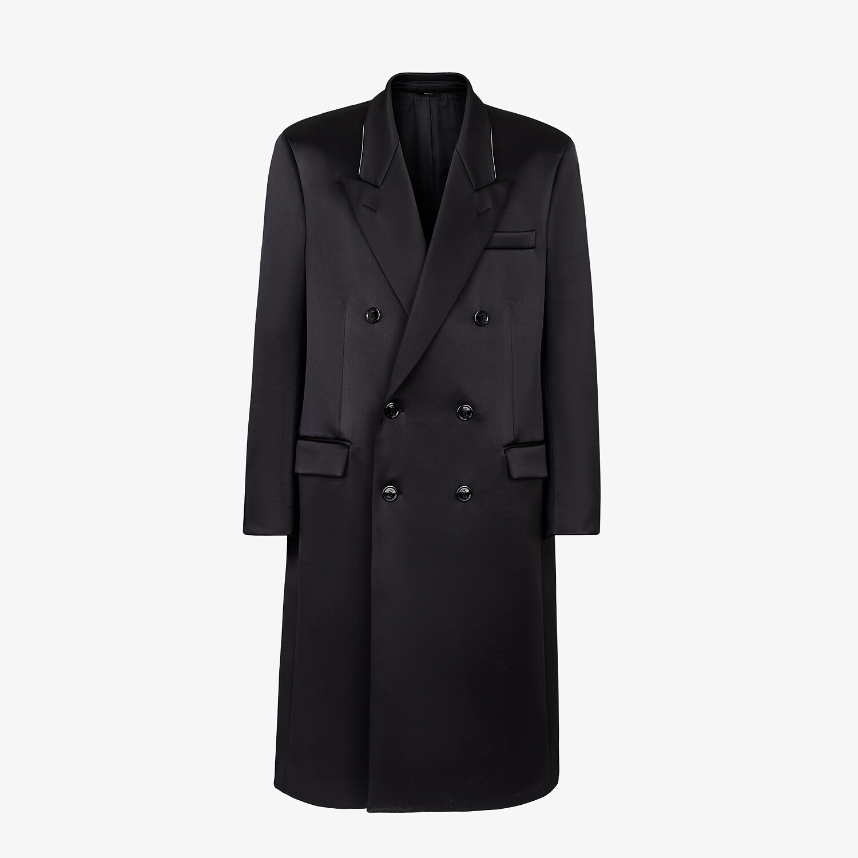 FENDI COAT - Black satin coat - view 1 detail