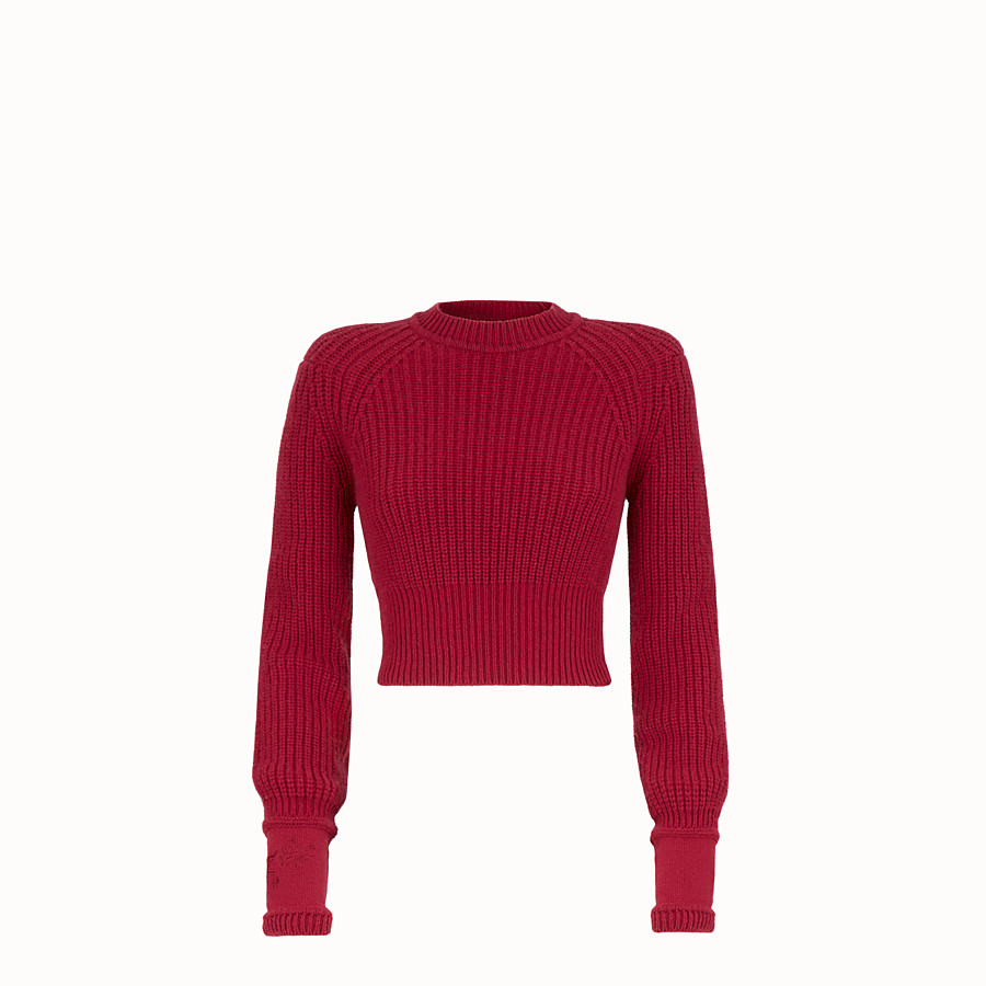 FENDI PULLOVER - Red cashmere jumper - view 1 detail