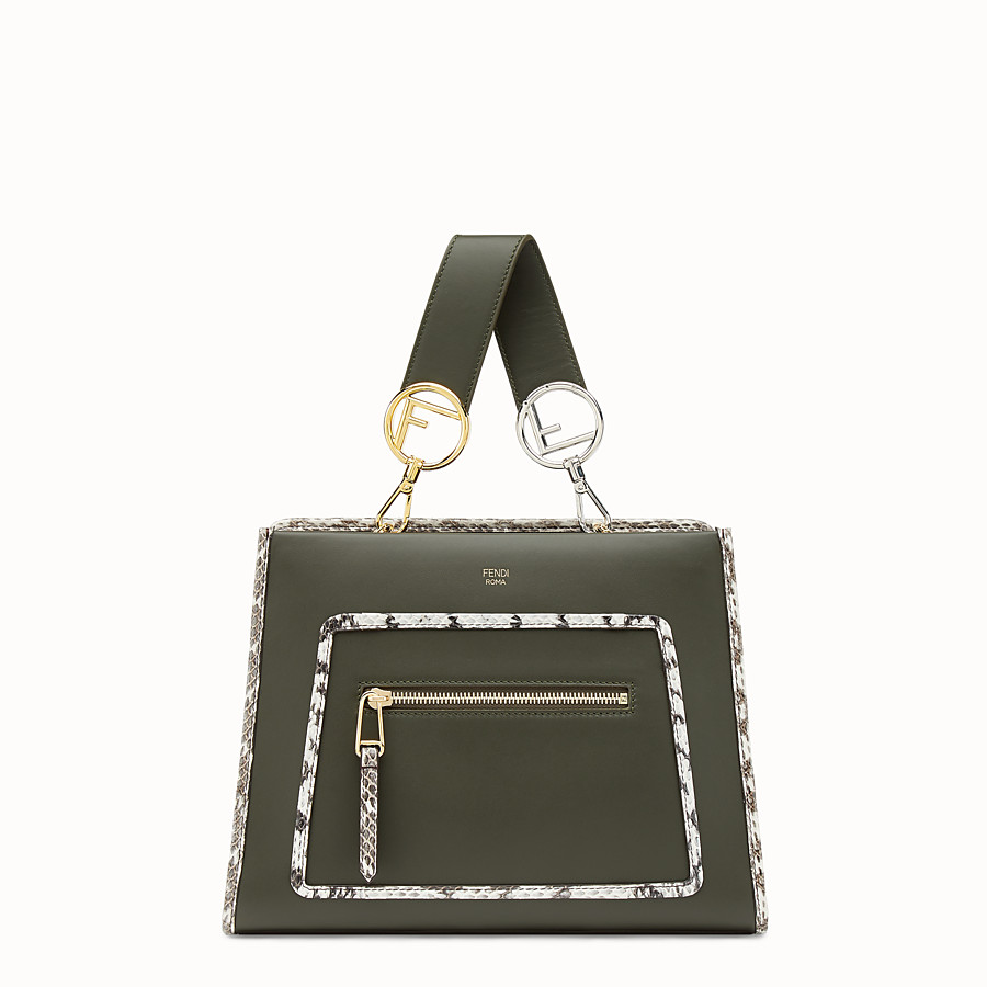 FENDI RUNAWAY SMALL - Green leather bag with exotic details - view 1 detail