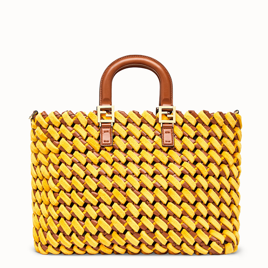 FENDI FF TOTE LARGE - Yellow nappa leather and mink bag - view 4 detail
