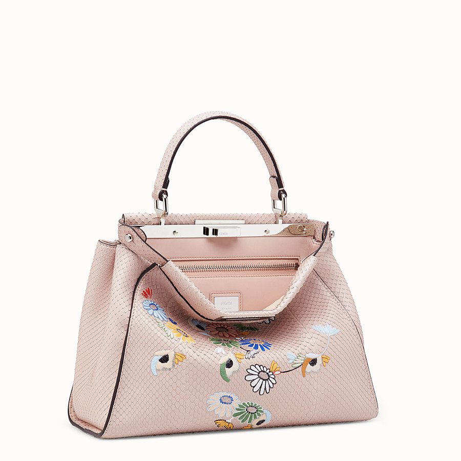 FENDI PEEKABOO REGULAR - Pink python leather bag - view 2 detail