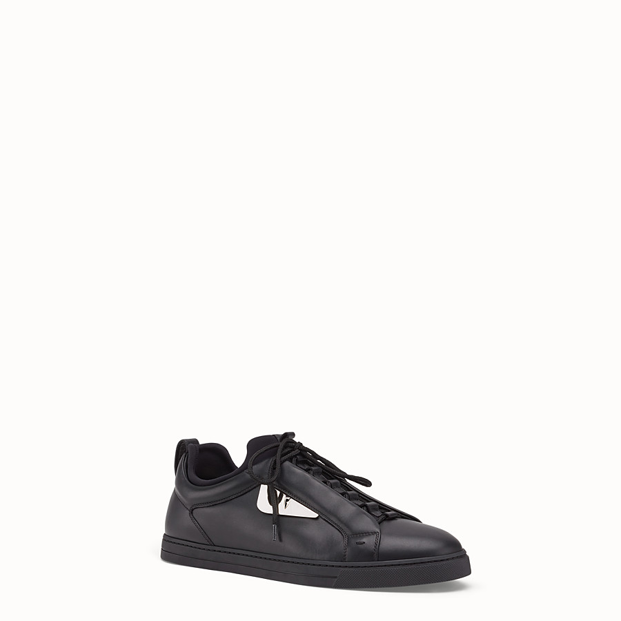 FENDI SNEAKER - Black leather low-tops - view 2 detail