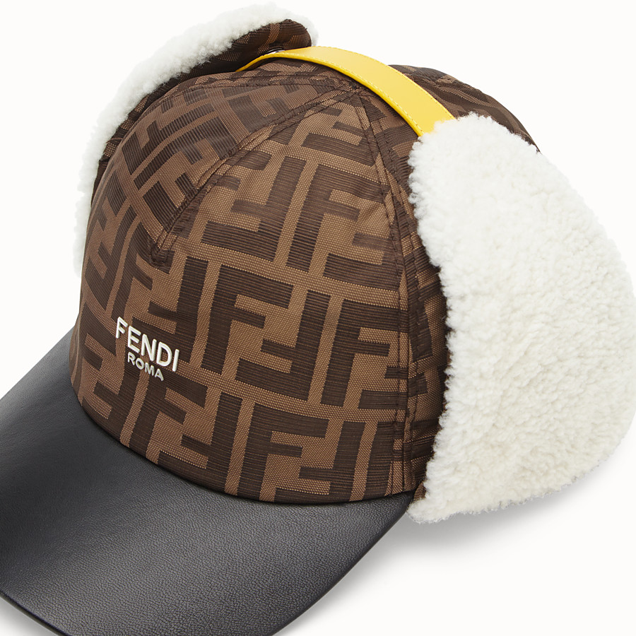 FENDI HAT - Brown fabric and sheepskin baseball cap - view 3 detail