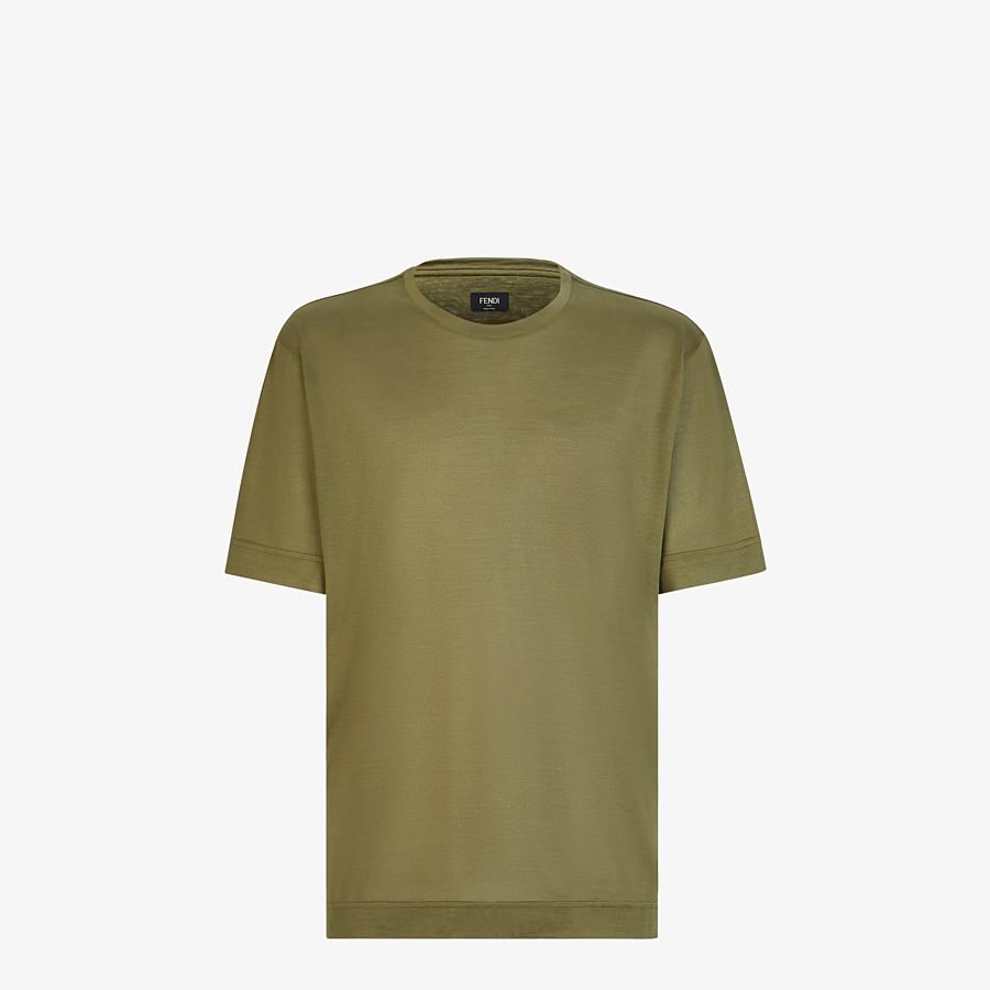 FENDI T-SHIRT - Green silk T-shirt - view 1 detail