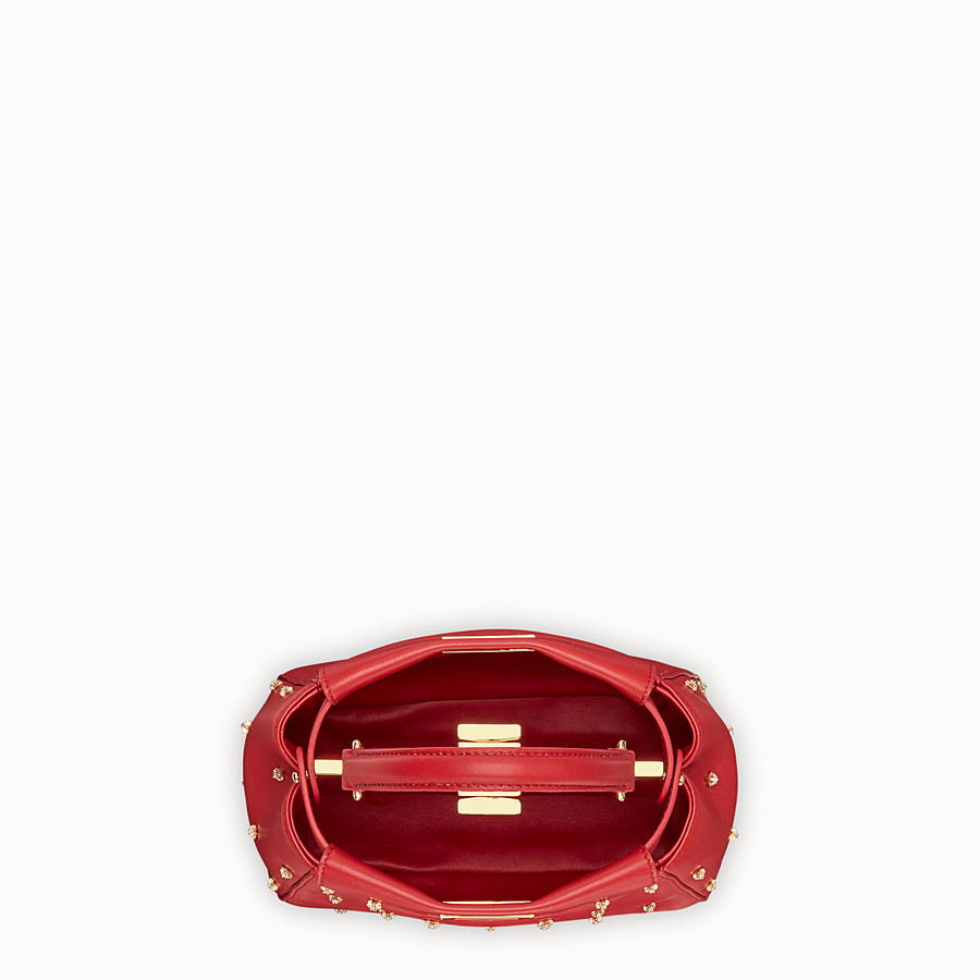 FENDI PEEKABOO ICONIC XS - Red leather mini-bag - view 4 detail