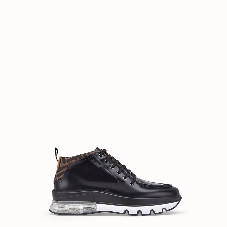 FENDI SNEAKERS - Black leather lace-up - view 1 detail