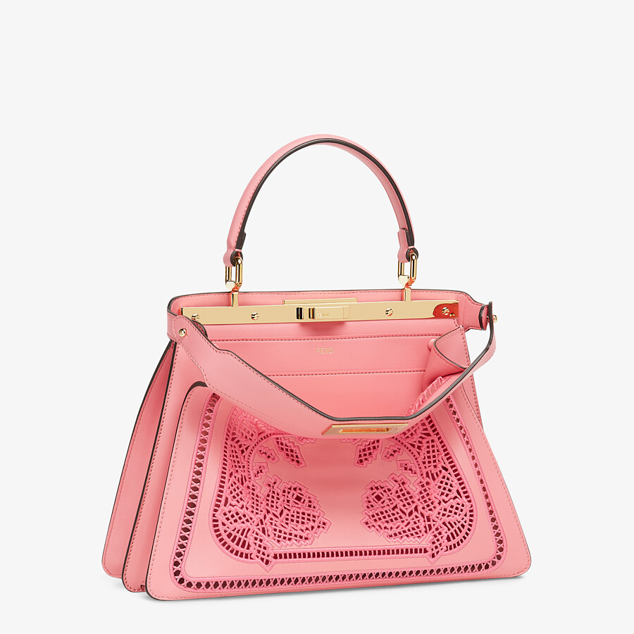FENDI PEEKABOO ISEEU MEDIUM - Pink leather bag with embroidery - view 4 detail