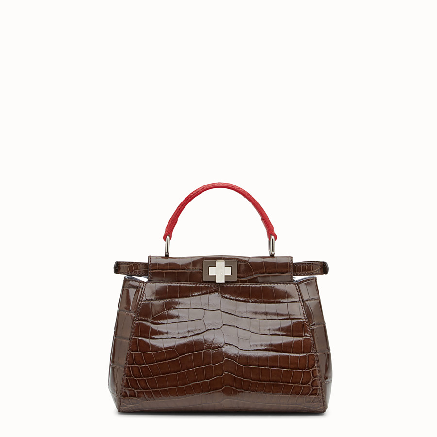 FENDI PEEKABOO MINI - Brown crocodile leather handbag. - view 3 detail