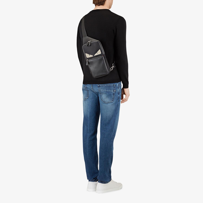 FENDI BELT BAG - Fabric and black leather satchel - view 5 detail