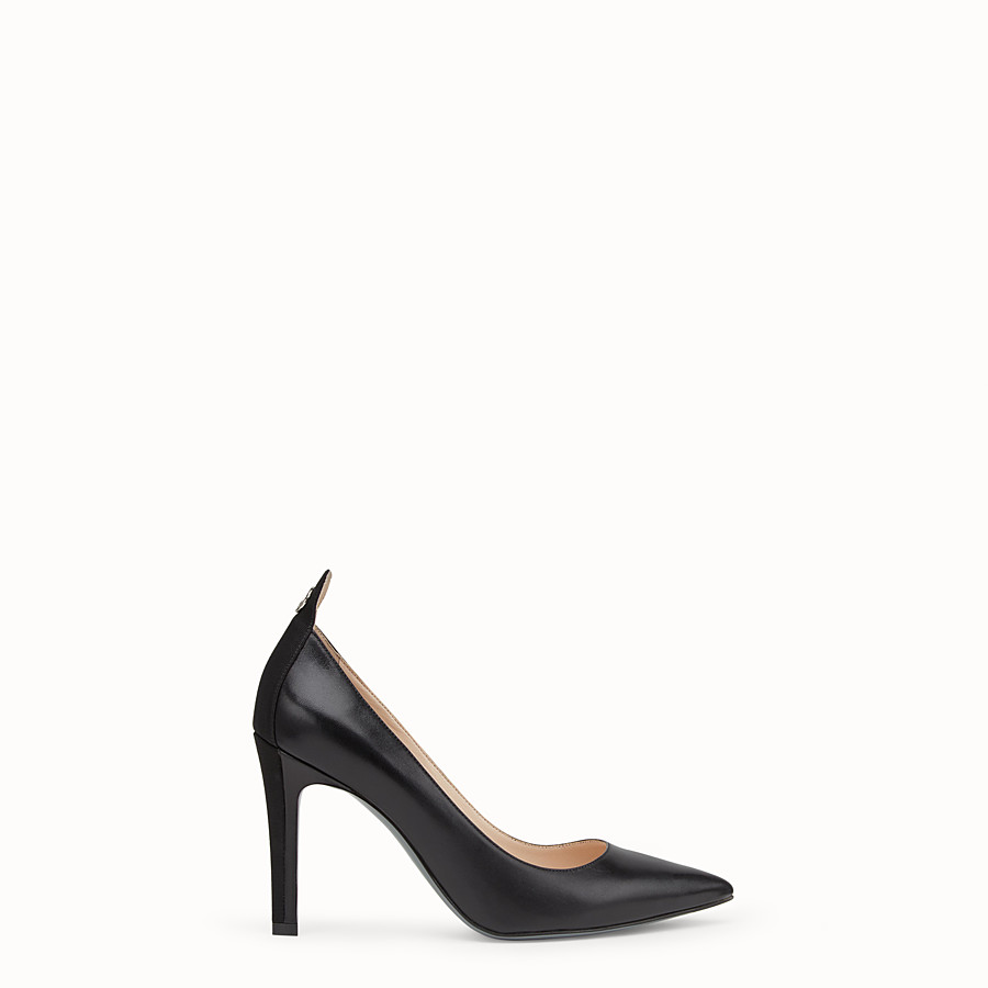 FENDI COURT SHOES - Black leather court shoes - view 1 detail