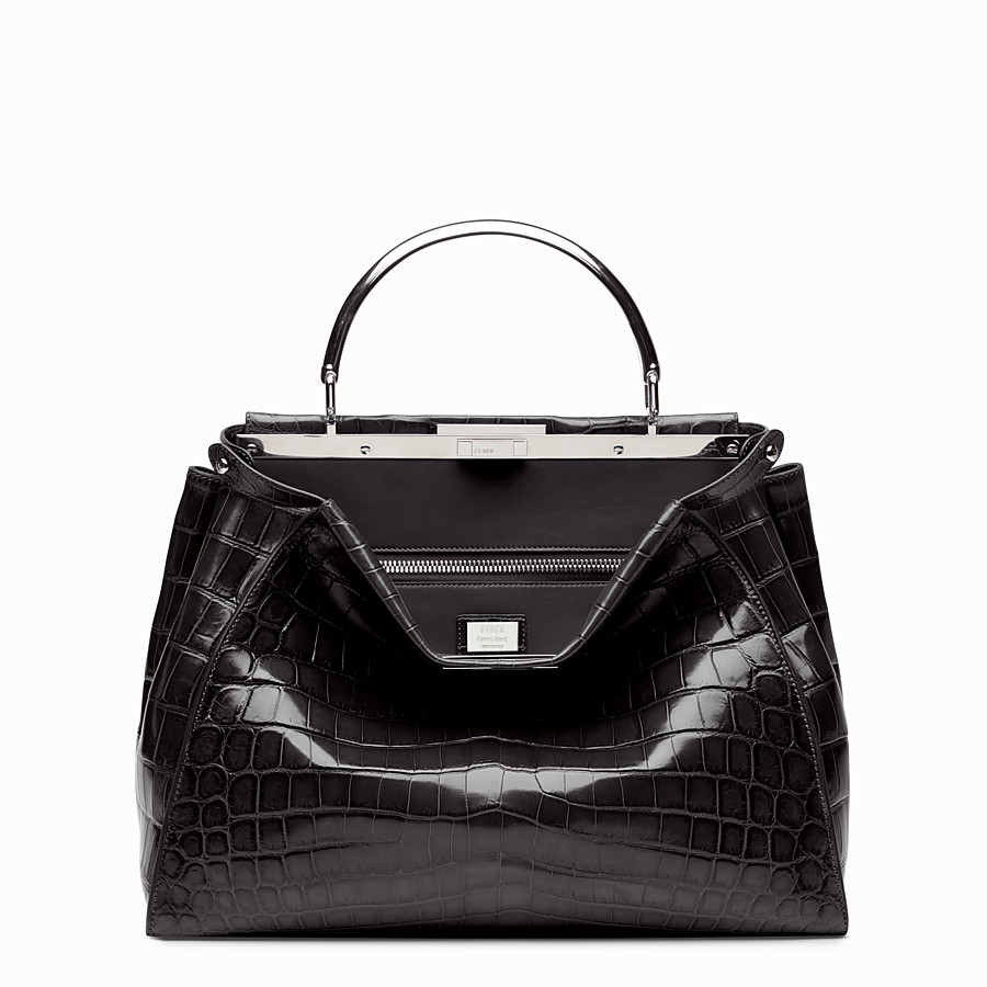 FENDI PEEKABOO LARGE - Black crocodile leather handbag. - view 1 detail