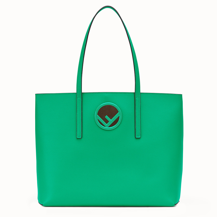 FENDI SHOPPER - Green leather shopper bag - view 1 detail