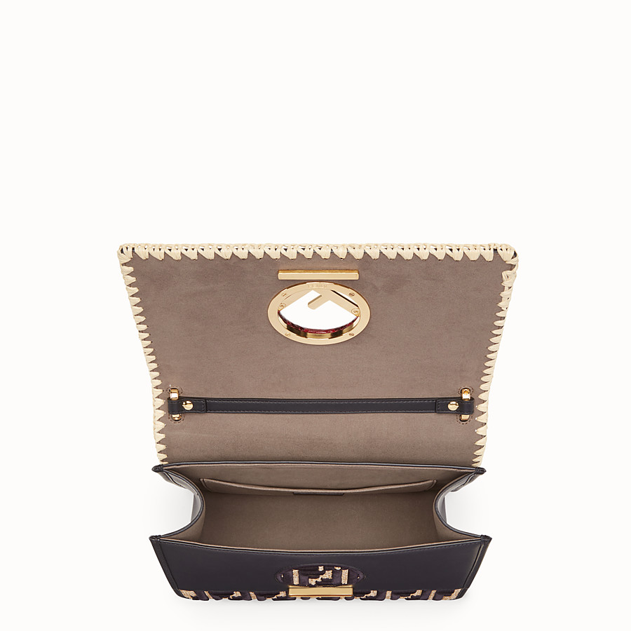 FENDI KAN I F - Black leather bag with exotic details - view 4 detail