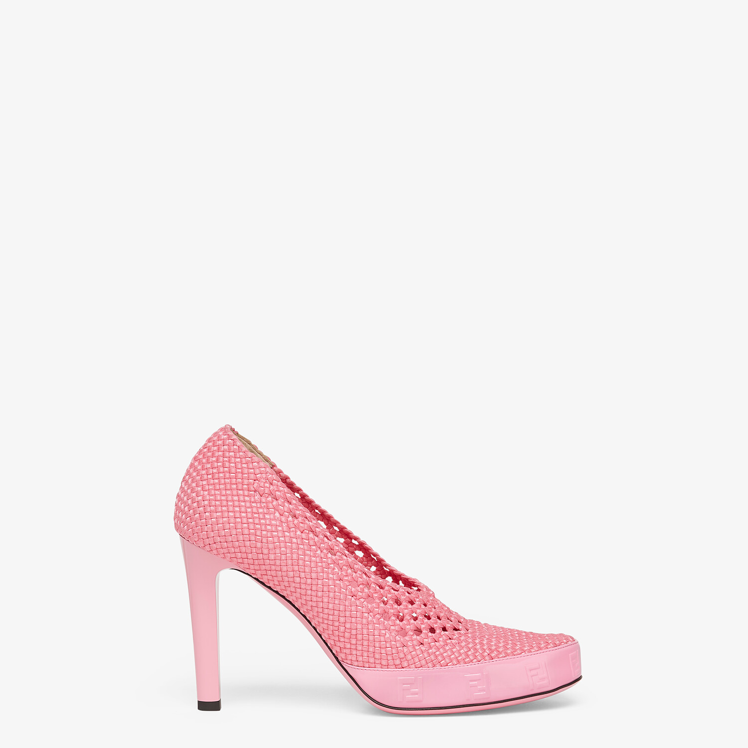 FENDI FENDI REFLECTIONS PUMPS - Elasticated pink lace pumps - view 1 detail