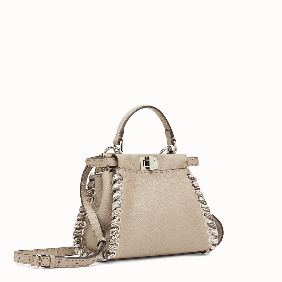 FENDI PEEKABOO MINI - Beige leather bag with exotic details - view 2 detail