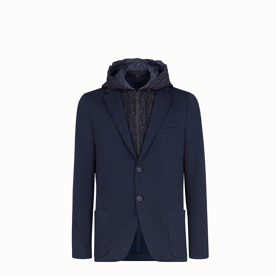 FENDI JACKET - Blue cotton jersey blazer - view 1 detail