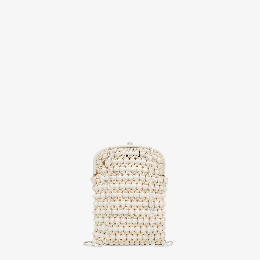 FENDI BAGUETTE PHONE BAG - White lace mini-bag - view 3 detail