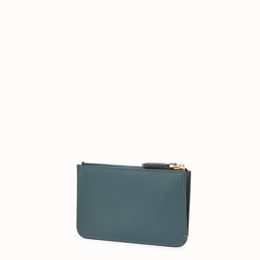 FENDI KEY RING POUCH - Green leather pouch - view 2 detail