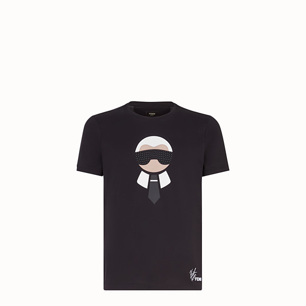 FENDI T-SHIRT - Black cotton jersey and leather t-shirt - view 1 small thumbnail