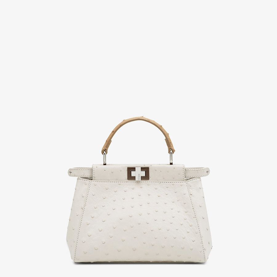 FENDI PEEKABOO ICONIC MINI - White ostrich leather bag - view 1 detail