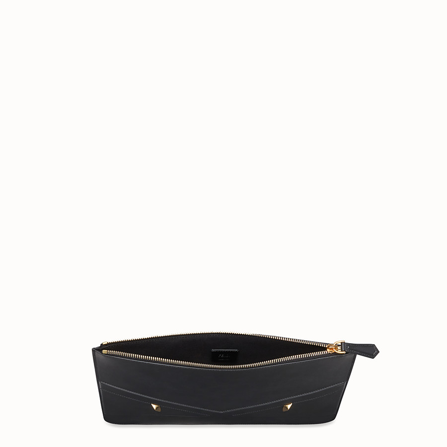 FENDI POUCH - Black leather slim pouch - view 3 detail