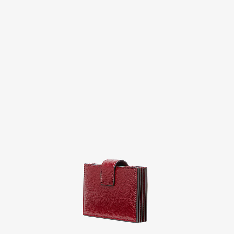 FENDI CARD HOLDER - Burgundy leather card holder - view 2 detail