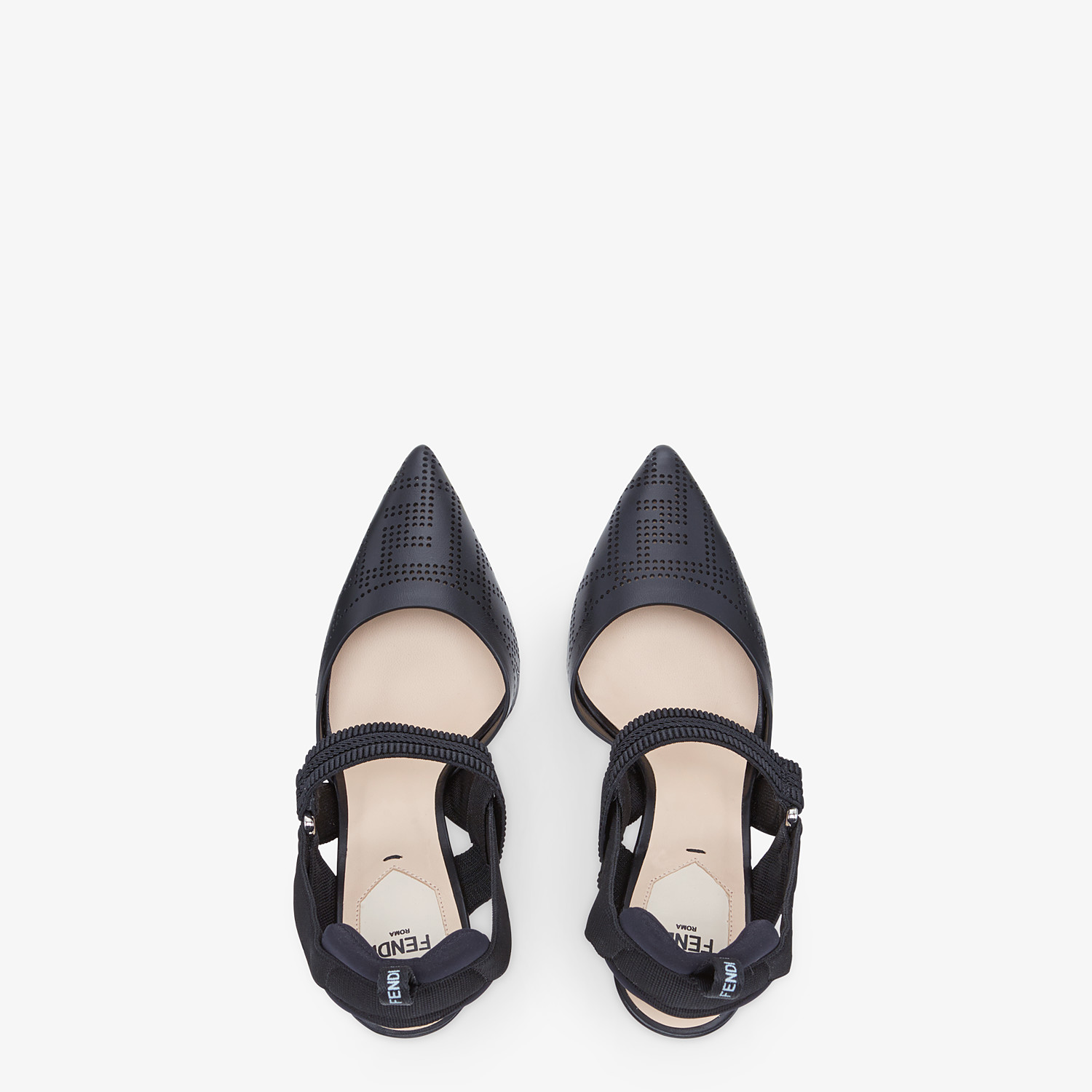 FENDI SLINGBACKS - Black leather Colibrì slingbacks - view 4 detail