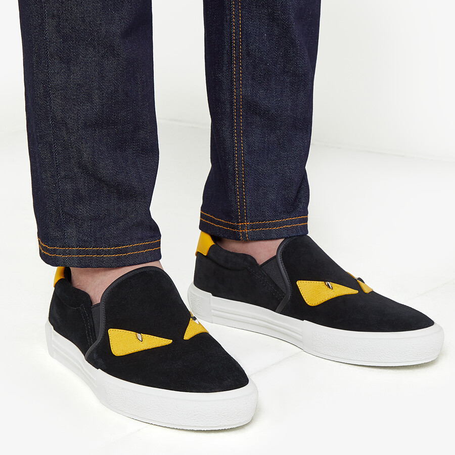 FENDI SNEAKERS - Slip-on in black leather - view 5 detail