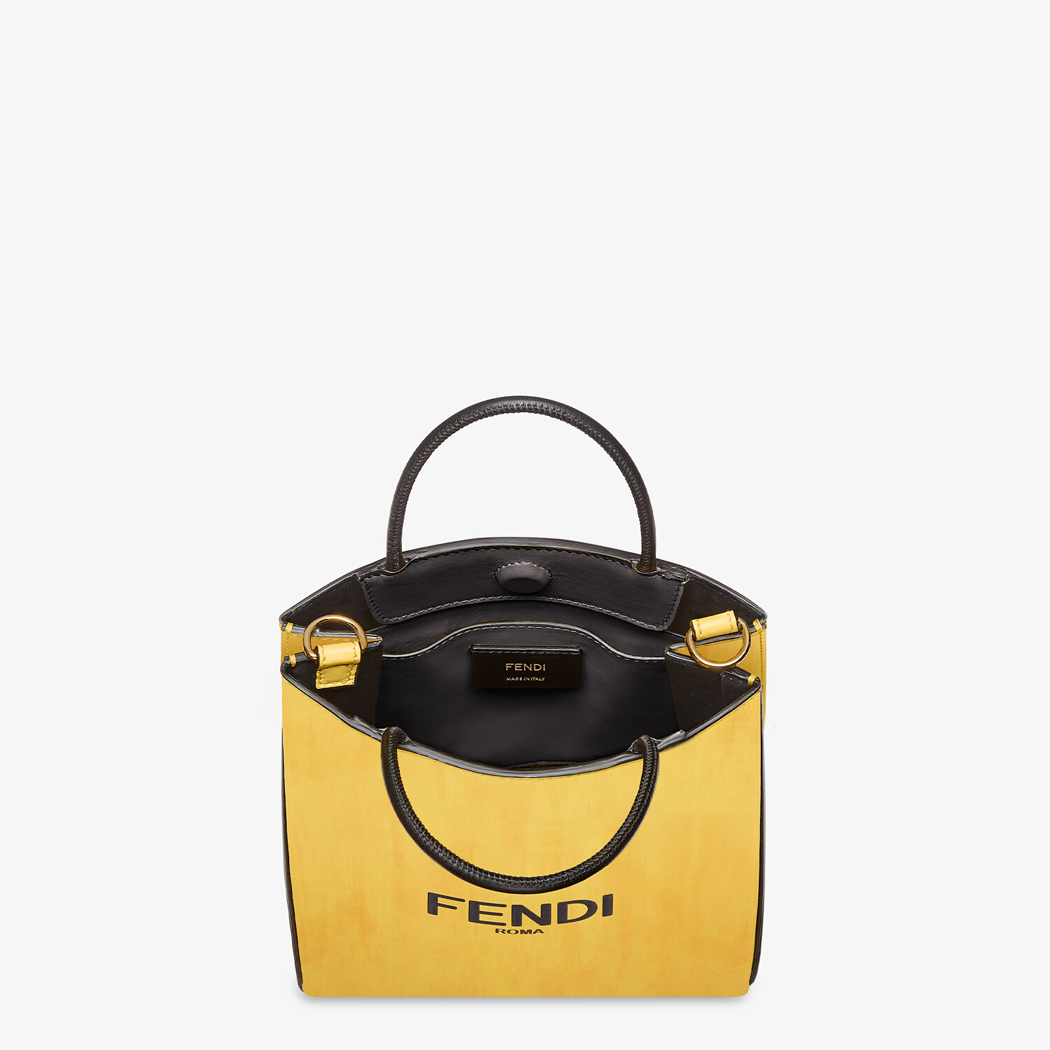 FENDI FENDI PACK SMALL SHOPPING BAG - Yellow leather bag - view 4 detail
