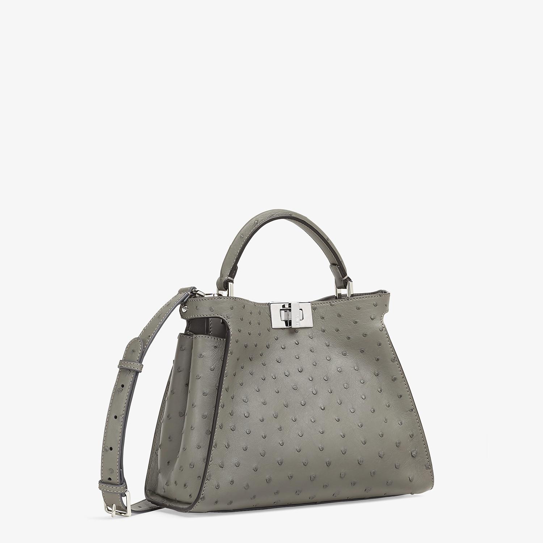 FENDI PEEKABOO ICONIC ESSENTIALLY - Grey ostrich leather bag - view 2 detail