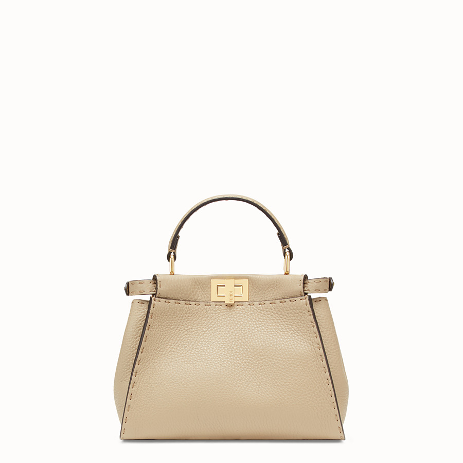 FENDI PEEKABOO ICONIC MINI - Beige leather bag - view 3 detail